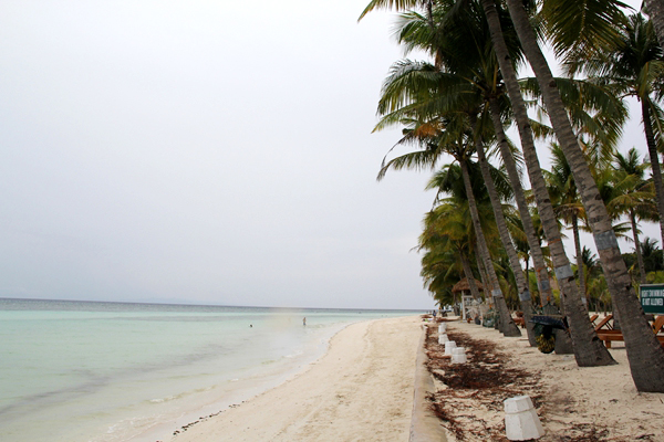 悬在两棵椰子树之间的吊床上小躺,懒懒洋洋地望远处的碧海与白船.