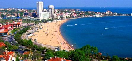 风景优美,汇泉角,八大关,海滩----蓝天,碧水,美景.