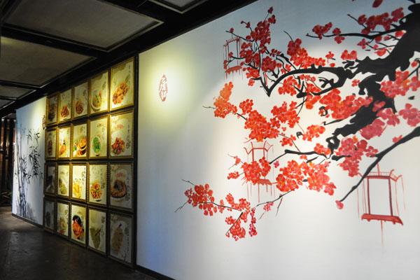 虾餐厅手绘壁画