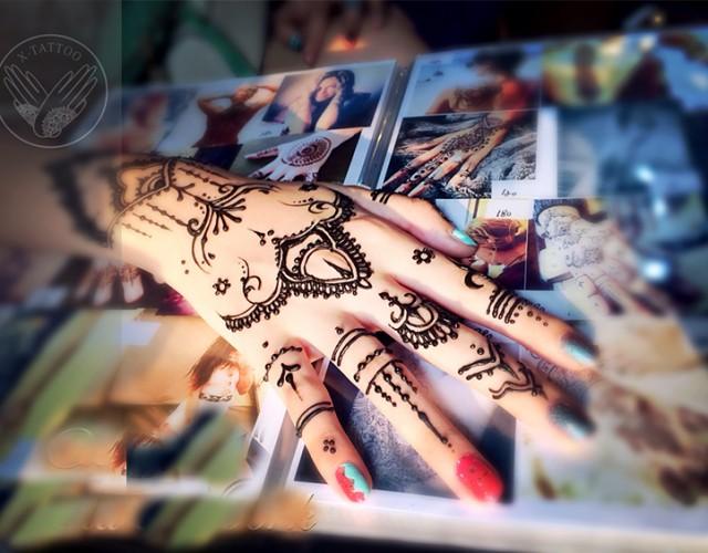 xtattoo印度海娜手绘纹身