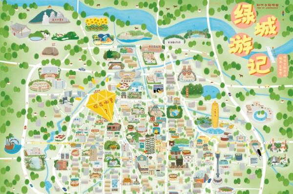 《绿城游记》郑州手绘地图由郑州本土插画